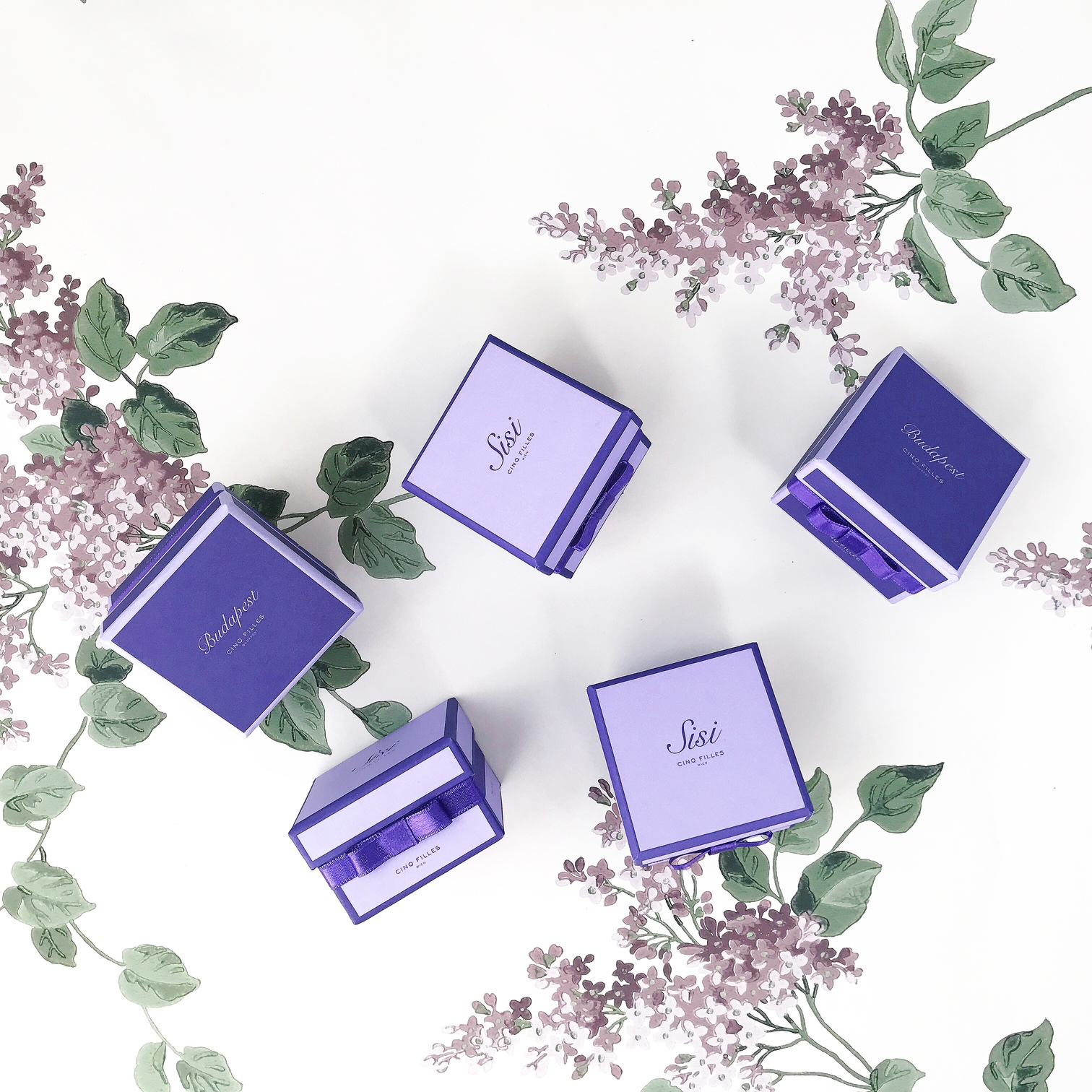 Cinq Filles Budapest Sisi Vienna Collection favor gift with candied violet petals