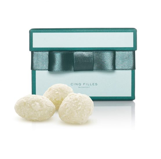 White chocolate coated almonds with coconut flakes in green premium box